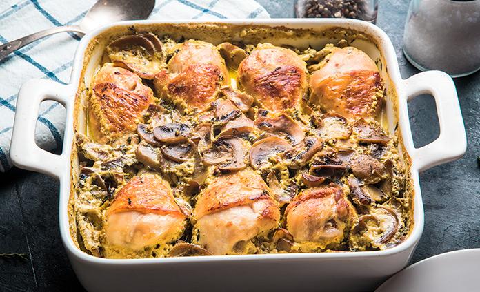 Куриные ножки с грибами в сливочном соусе