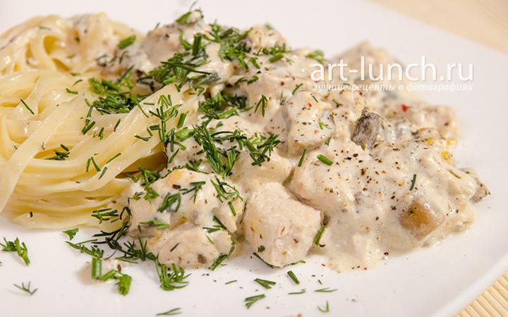 грибы с курицей в сливочном соусе рецепт с фото