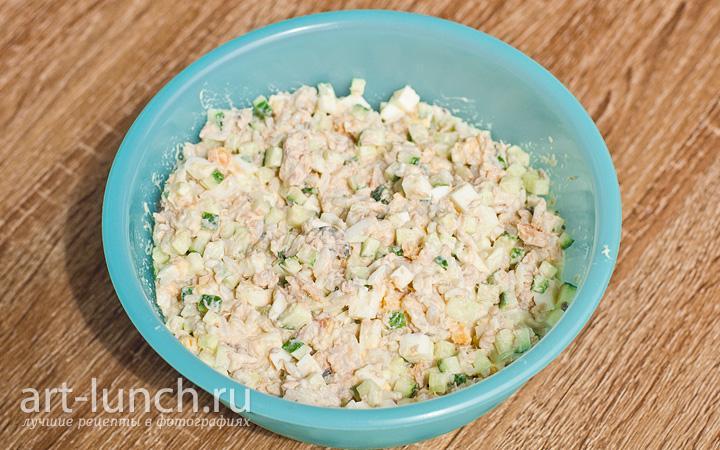 рецепт рыбного салата из горбуши с рисом