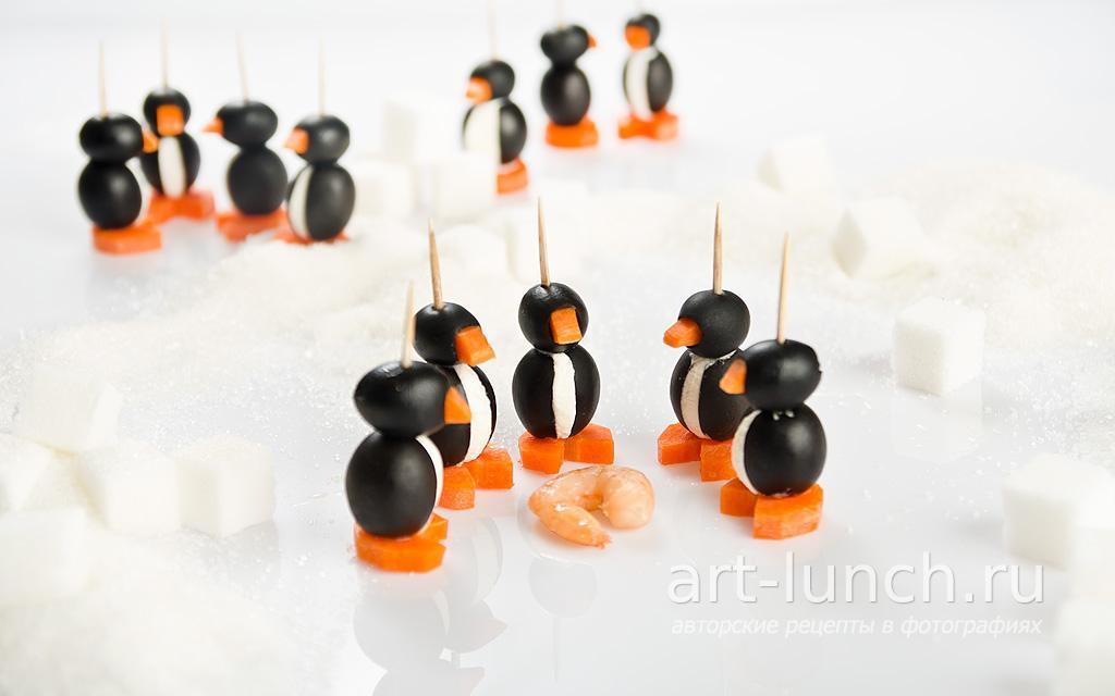 Закуска Пингвины из маслин - пошаговый рецепт с фото