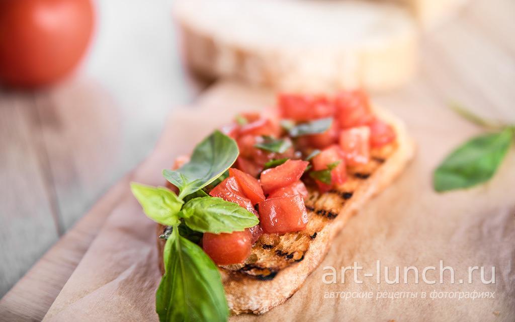 Брускетта с помидорами и базиликом - пошаговый рецепт с фото