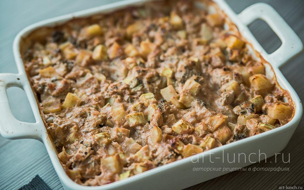 Овощи с индейкой, запечённые в сливочно-томатном соусе - пошаговый рецепт с фото