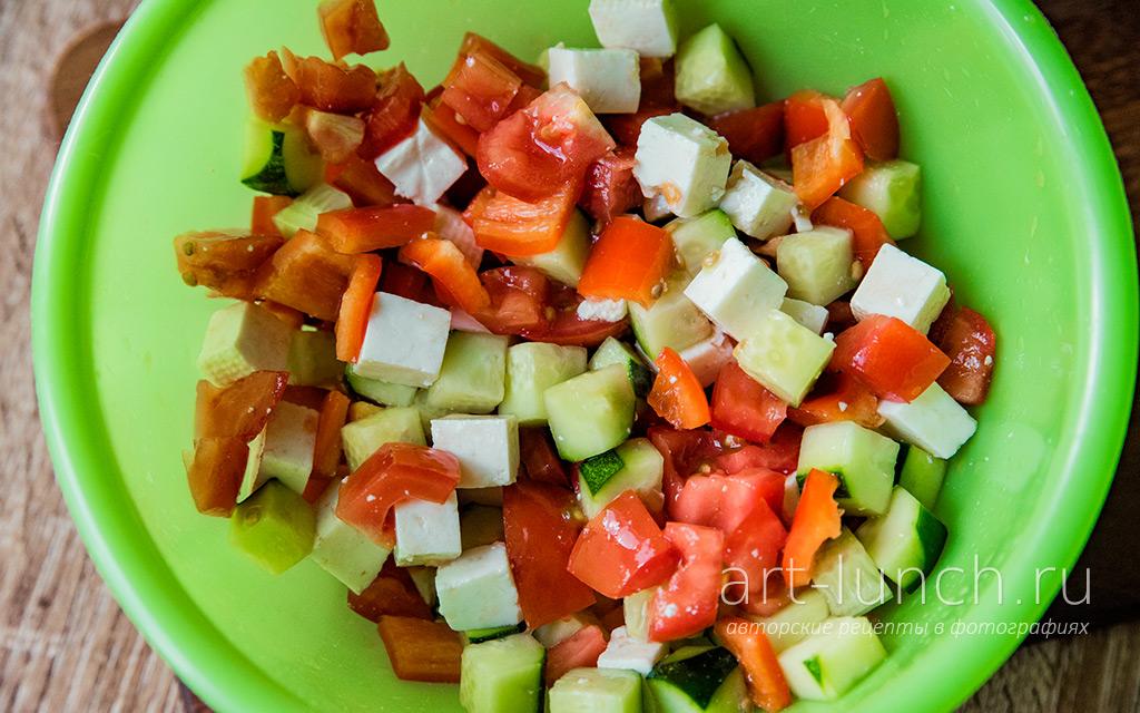 Овощной салат с креветками - пошаговый рецепт с фото