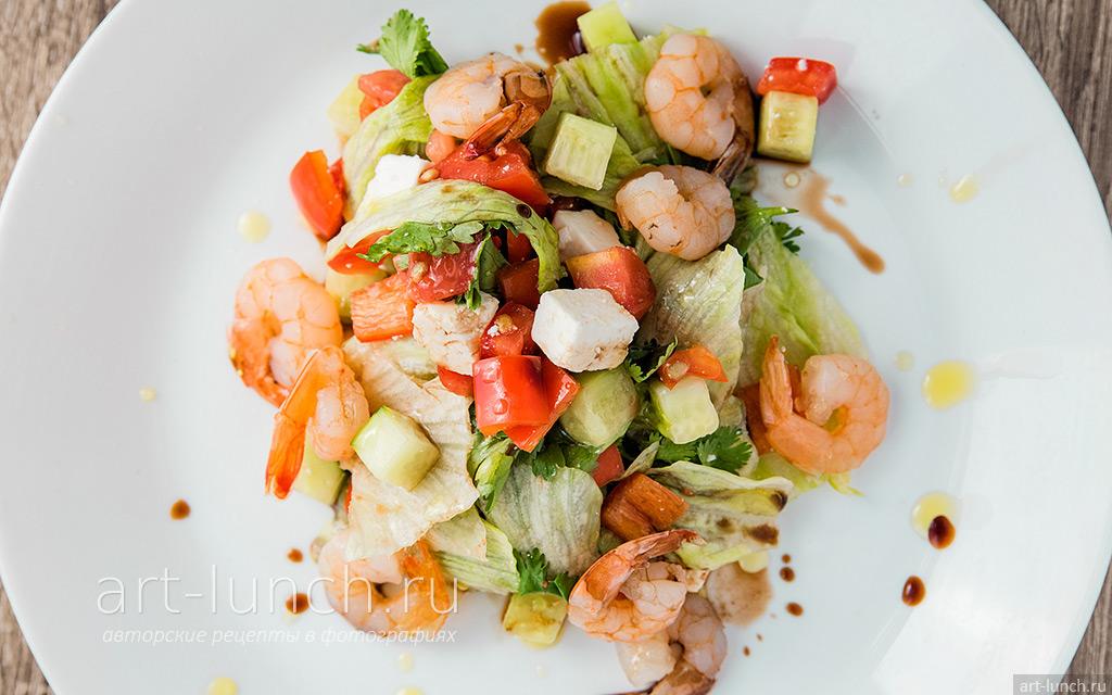 Рецепт салата с креветками и овощами пошагово